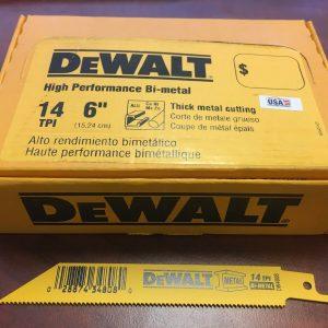 Dewalt 6″ X 14 TPI Bi-metal Reciprocating Saw Blades - Indistrial Supplies in Alabaster Alabama